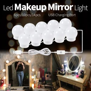 Led mirror light bulb led mirror headlights USB touch switch 10led mirror light bathroom